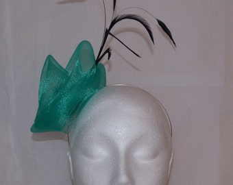 Emerald green and black feather fascinator. Handmade.