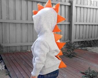 Dino Hoodie - Dinosaur Hoodie Light Grey