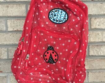 Ladybug Backpack | Mesh Backpack | Monogrammed Backpack | Girls Bookbag | Clear Backpack | Back to School | Personalized Backpack | Bookbag