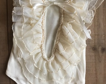 Sophie Romper, baby romper, ruffled romper, ivory romper, beaded romper, pearls, baby outfit, girl outfit, photo prop, vintage outfit