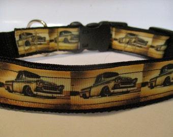 Vintage truck dog collar adjustable nylon