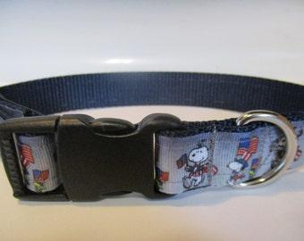 Handmade patriotic dog collar adjustable nylon Memorial day 4th of July