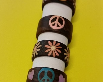 Wooden Hand-Painted Ring Size Large (7/8) - Comes in 4 Styles!