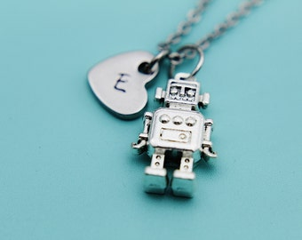 Silver Robot Charm Necklace, Silver Robot Heart Charm Necklace, Silver Robot Charm, Silver Necklace, Robot Jewelry, Gifts for Her under 30
