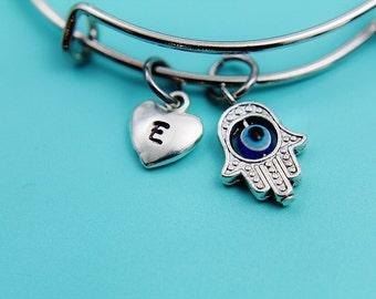 Hamsa Bracelet Silver Hamsa  Charm Evil Eye Kabbalah Charm Hamsa Jewelry Fatima Jewelry Personalized Bracelet Initial Charm Initial Bangle