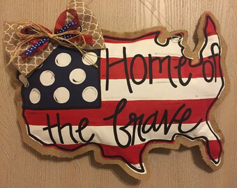 United States Painted Burlap Door Hanger; 4th of July door Hanger; patriotic door hanger; burlap door hanger