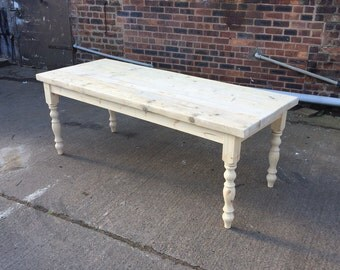 Farmhouse dining table with reclaimed wood top and bench made for 10 seater farmhouse table