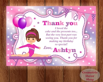 Thank you card Birthday Party cards Gymnastic Digital Girl Pink Purple Gymnastics Party Printable THG2