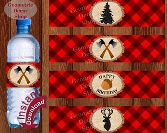 Buffalo Plaid Water Bottle Labels Birthday Lumberjack Birthday Party Wilderness Plaid Lumber Jack Rustic TIMBER Buffalo Camping WLLJ1