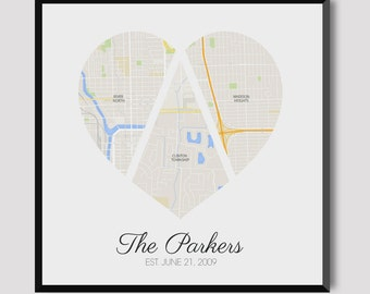 3 Location Map of Love -  Downloadable Digital Print
