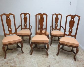 6 Drexel Heritage Old Word Country French Carved Dining Room Side Arm Chair  Set