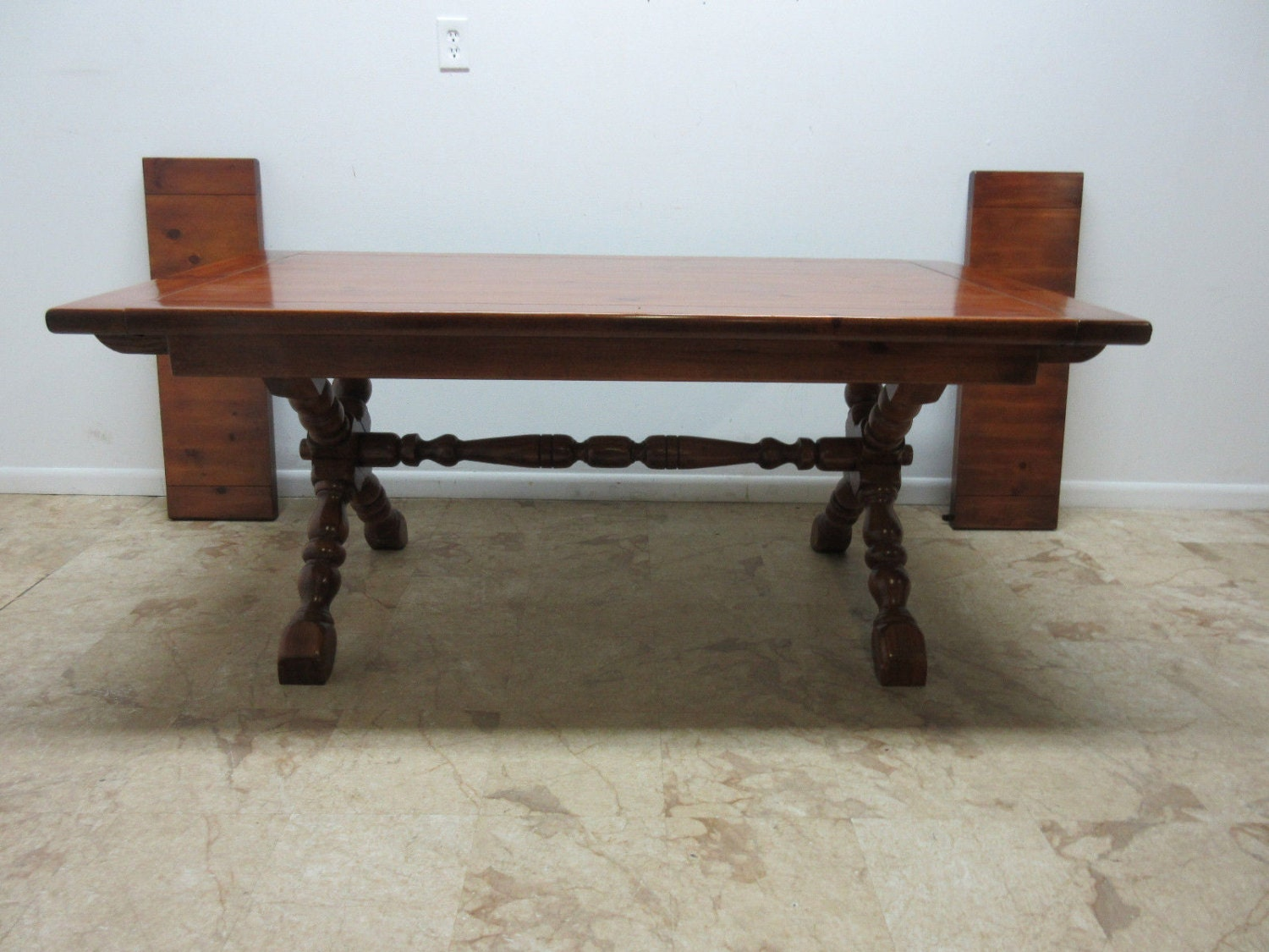 Country Colonial Pine X Base Trestle Dining Room Table Haute Juice