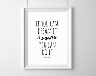 if you can dream it you can do it... (...) Home  Decor, Quote, Inspirational, Gift Idea,Typography Poster,Gift,live,Disney,