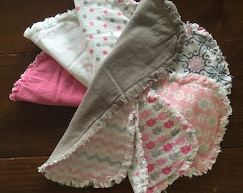Shabby chic baby burp clothes