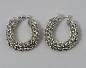 Silver Plated Earrings, Chainmaille Earrings, Loose Hoop Earrings, Full Persian Chainmaille, Silver Earrings, Chain mail Jewellery