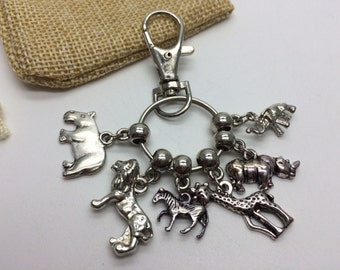 African Safari Wildlife Keyring Bag Charm New & Handcrafted