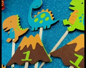 12 Adorable Dinosaur Cupcake/ Cake Toppers