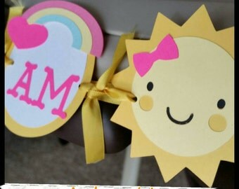 "Sunshine ""I AM ONE"" Highchair Banner, Age High Chair Banner, First Birthday Banner"