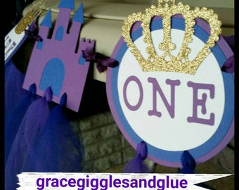 "Glitter Prince/Princess ""I AM ONE"" Highchair Banner with Tulle Skirt!! And Glitter Crowns! Tulle High Chair Banner, First Birthday Banner"