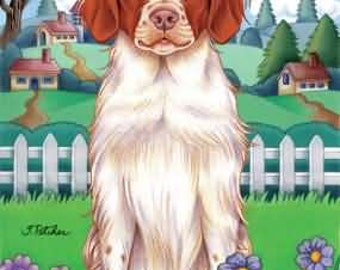 Brittany Spaniel TP Spring Flag: 28 x 40 inches