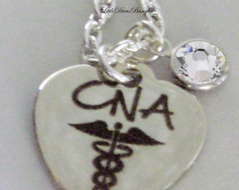 CNA (Certified Nurse  Necklace W/ Swarovski Birthstone Crystal  /  Nurse  Necklace / Gift For Her / Under 20  Usa   NK1