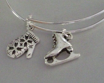 Silver Mitten / Ice Skate - CHRISTMAS Adjustable BANGLE -Personalize Your Expandable Bracelet - USA W1
