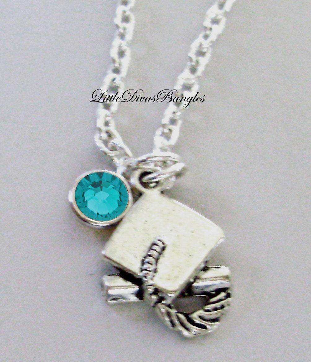 graduation charm necklace w swarovski birthstone