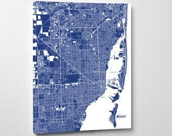 Miami Street Map Print Map of Miami City Street Map Miami Florida Poster Wall Art 7126P