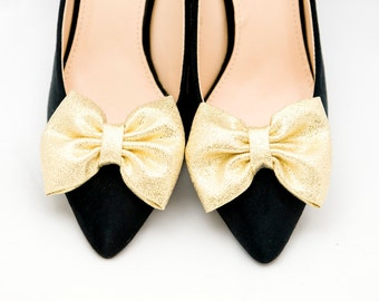 Gold Bows Shoe Clips Bridal Wedding Shoe Accessories