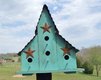 Turquoise Outdoor Triple Bird House Barn Style Blue Bird Condo Hand Made Wood Bird House With or Without Stars