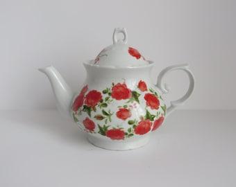 Porcelain Red Rose Teapot