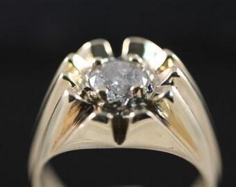 Men's 1.5ct Gypsy Ring 14K Y/G Drastically Reduced!
