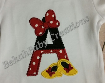 Girl Mouse--Minnie Mouse applique shirt