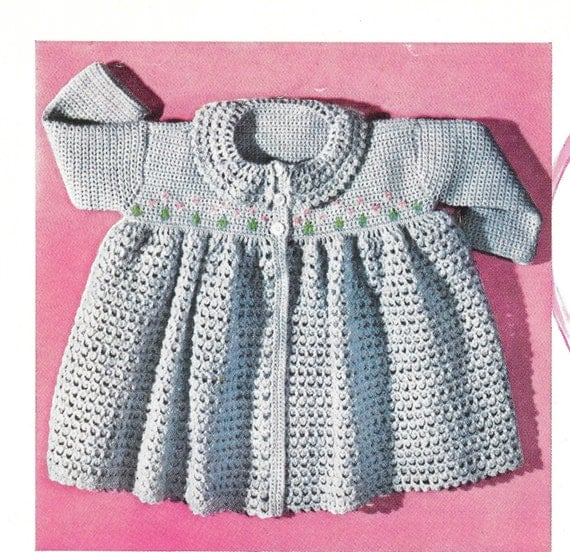 Crochet Baby Coat Pattern : Crochet Baby Pattern Matinee Coat Pattern 50s Crocheted