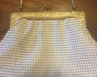 1960's Petite White and Gold Glomesh Handbag.