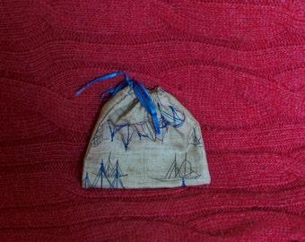 Beige Handmade Drawstring Gift Bag With Blue Boat Ship Design