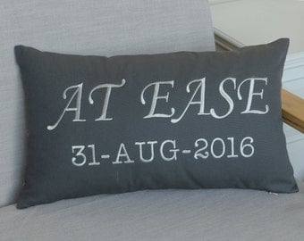 Pillow, At Ease Pillowcases, Embroidered Phrase pillow, Military Gift, Military Retirement Gift, Army gift, Soldier Gift,Decorative Pillow