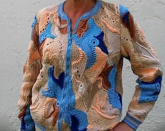 Crocheted ,bomber jacket freeform, jacket patchwork multicolor for women
