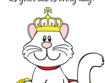Happy Birthday Cat Themed Greeting Card (Blank Inside)