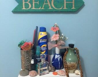 Aqua Blue Beach Sign Arrow