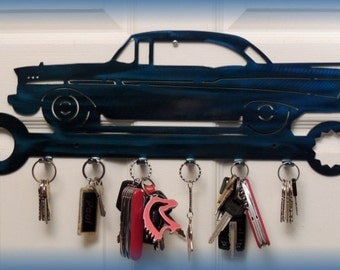 57 Chevy Keychain Holder in Cut Cast Metal -- By Crystal Cove Gifts