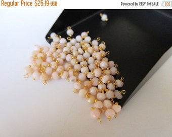 ON SALE 50% 25 pcs 3mm Pink Opal Rondelle Beads, Faceted Rondelles, Wire Wrapped Gemstone Beads, Jewelry Hangings, SKU-Jh2