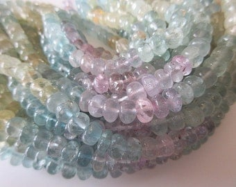 Natural Aquamarine Smooth Rondelle Beads, Pink Aquamarine, Blue Yellow Aquamarine Beads, 7mm Morganite Beads, 18 Inch Strand, SKU-2869