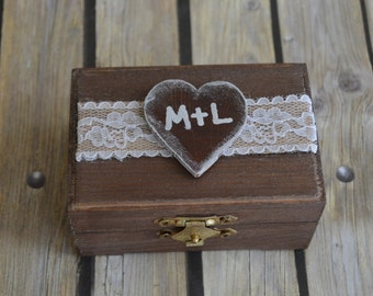 Wedding Ring Wooden Box Ring Bearer Pillow Shabby Chic Rustic Burlap Lace Wedding
