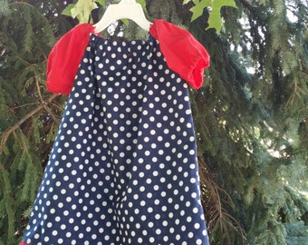 4th of July Outfit, Fourth of July Dress, Patriotic Dress, Patriotic Outfit, 4th of July Dress, Minnie Mouse Dress, Polka Dot Dress