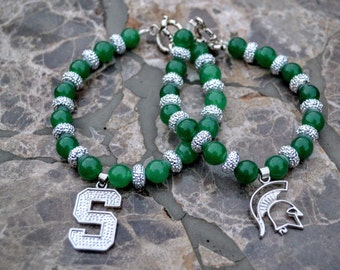 Michigan State Spartans Beaded Green and White Spirit Bracelet