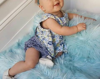 Open back reversible dress and matching bloomer set