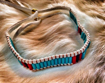 Turquoise With Red And Black Tribal Wanpum Bracelet