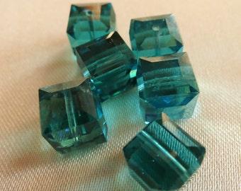 Zircon Swarovski Cube Crystals - 8mm squares -  6 Crystals