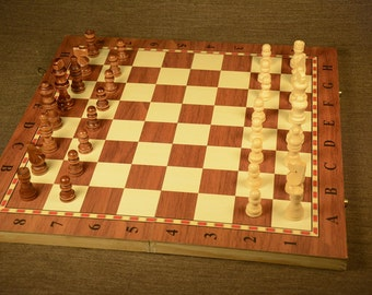 Wooden Chess set and Backgammon, Wooden Chess set Brown Chess Board Backgammon set Travel, Gift idea, Rustic wooden box